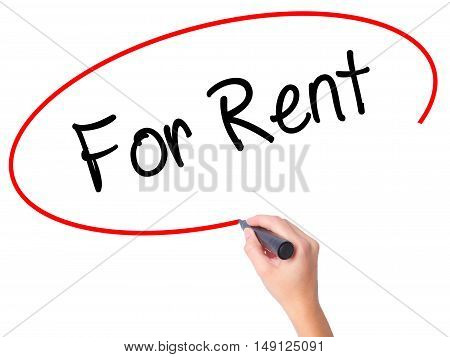 Women Hand Writing For Rent With Black Marker On Visual Screen