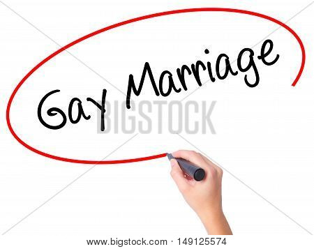 Women Hand Writing Gay Marriage With Black Marker On Visual Screen.