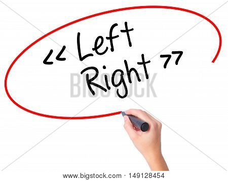 Women Hand Writing Left - Right With Black Marker On Visual Screen.