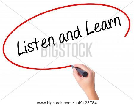 Women Hand Writing Listen And Learn With Black Marker On Visual Screen