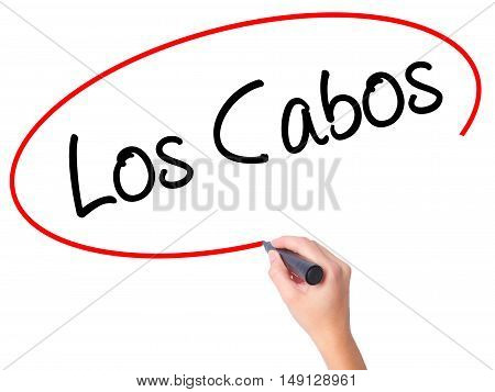 Women Hand Writing Los Cabos With Black Marker On Visual Screen