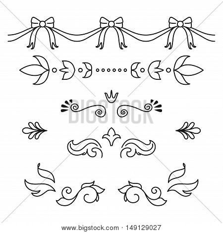 Set of different hand drawn text dividers and page decoration designs elements.