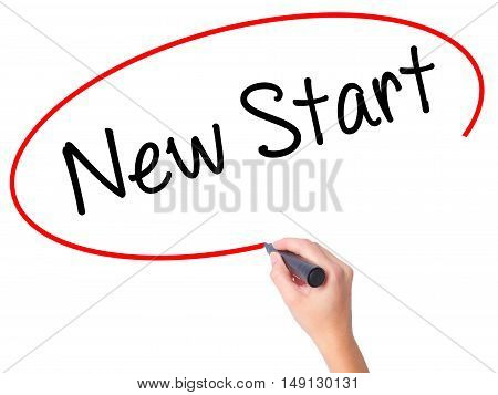 Women Hand Writing New Start With Black Marker On Visual Screen