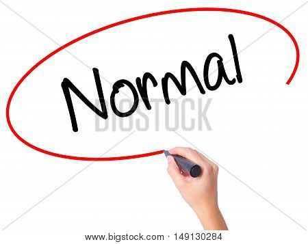 Women Hand Writing Normal With Black Marker On Visual Screen