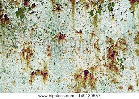 Old Painted Cyan Rusty Wall Detailed Texture Filtered