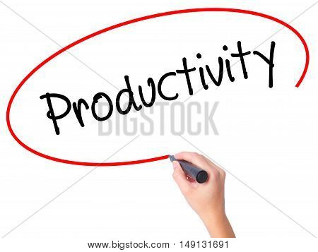 Women Hand Writing  Productivity With Black Marker On Visual Screen
