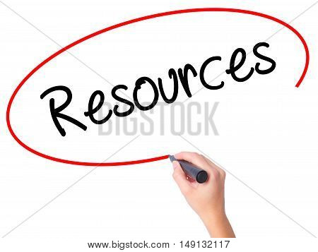 Women Hand Writing Resources With Black Marker On Visual Screen