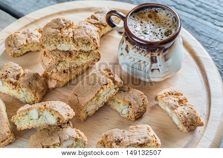 Cantuccini With Almonds And Cup Of Coffee