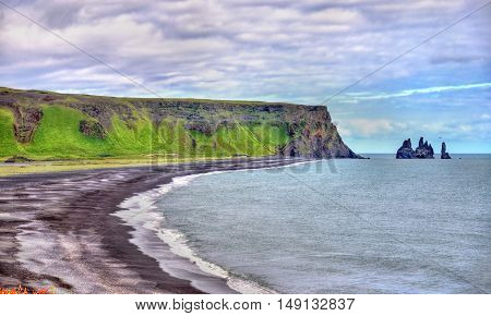 The Black Sand Beach of Vik in South Iceland