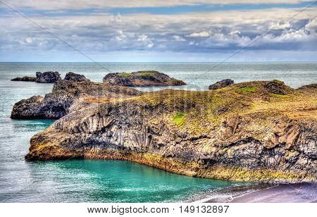 Basalt shore of Dyrholaey Cape in South Iceland
