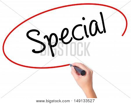 Women Hand Writing Special With Black Marker On Visual Screen