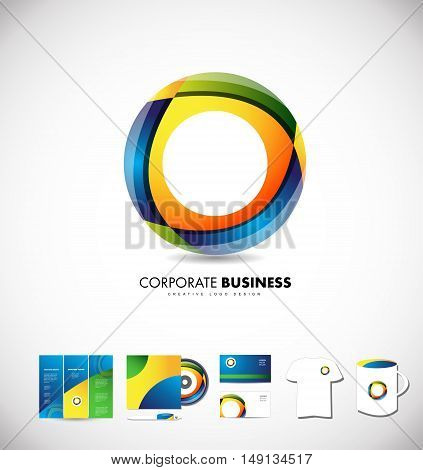 Corporate business circle vector logo icon design identity set cd brochure card colors