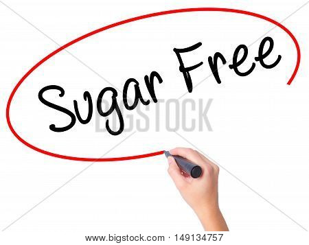 Women Hand Writing Sugar Free With Black Marker On Visual Screen