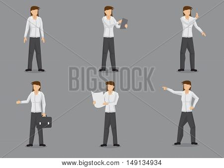 Set of six vector illustrations of female business professional in smart casual dress shirt and trousers. Vector cartoon character design of professional woman isolated on grey background.