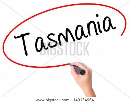 Women Hand Writing Tasmania With Black Marker On Visual Screen