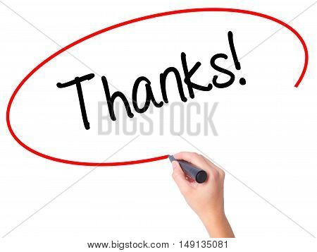 Women Hand Writing Thanks! With Black Marker On Visual Screen