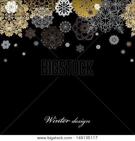 Winter silver abstract design with gold and white snowflakes and stars and black background. Trend golden design. Top horizontal border and text place. Vector illustration.