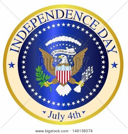 A depiction of the seal of the President of the United States of America mocked up for Independence Day over a white background