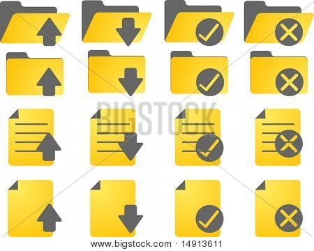 Document folder icon set, with different statuses