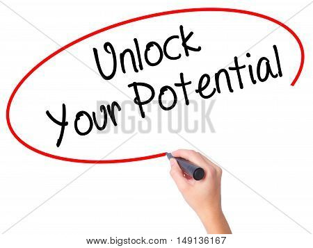 Women Hand Writing Unlock Your Potential With Black Marker On Visual Screen