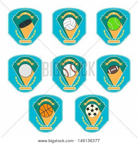Sport logo set for different sport disciplines vector. Badge sport graphic team illustration sport logo. Champion tournament game element sport logo label shield ball college competition emblem.