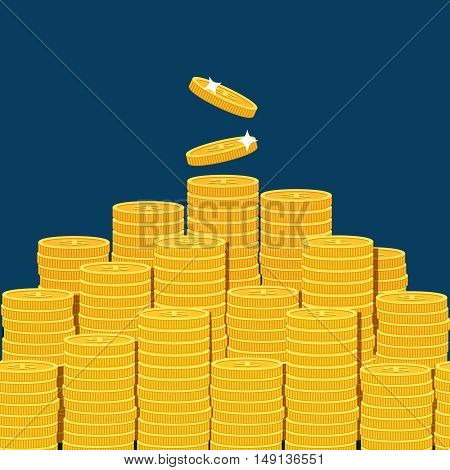Big stacked pile of flat vector coins isolated on dark blue backgound. Vector cash conceot for business and finance concept