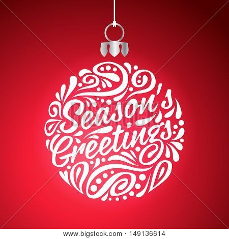 Holidays greeting card with abstract doodle Christmas ball. Vector eps10 illustration. Season's greeting