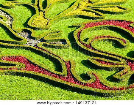 Colorful shapes of ornamental flower garden. Flower Garden Kromeriz - UNESCO World Cultural and Natural Heritage, Kromeriz, Moravia, Czech Republic