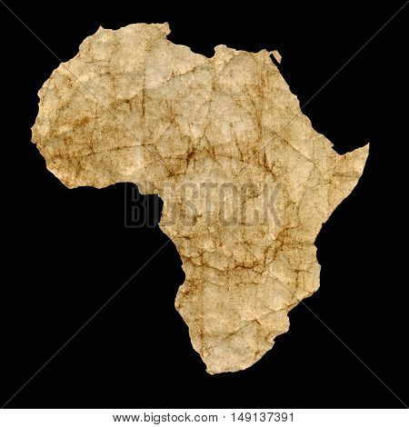 Africa outline map on a vintage brown leather parchment.