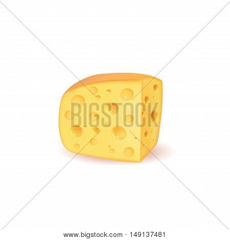 piece of cheese cheese icon 3d cheese realistic food Vector illustration