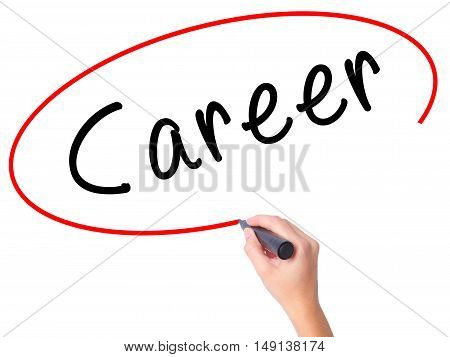 Women Hand Writing Career With Marker On Transparent Wipe Board