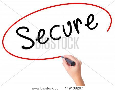 Women Hand Writing Secure With Marker On Transparent Wipe Board