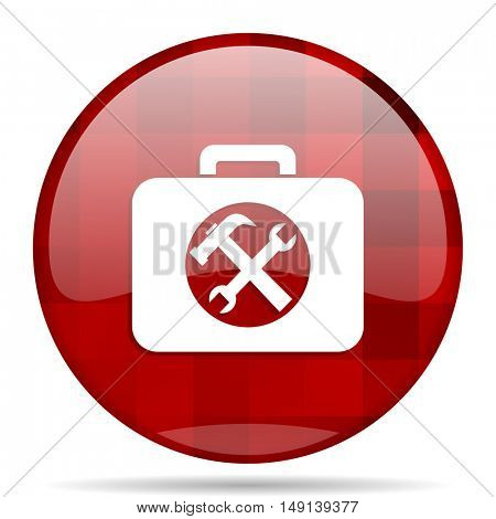 toolkit red round glossy modern design web icon