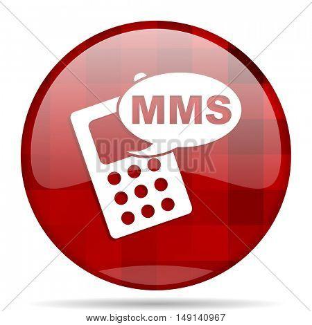 mms red round glossy modern design web icon