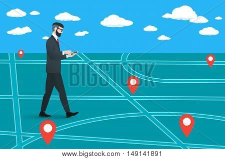 Trendy nerd hipster pedestrian goes on a virtual city map. This businessman wearing solid suit and holding smartphone in hands. He is looking for the right street.