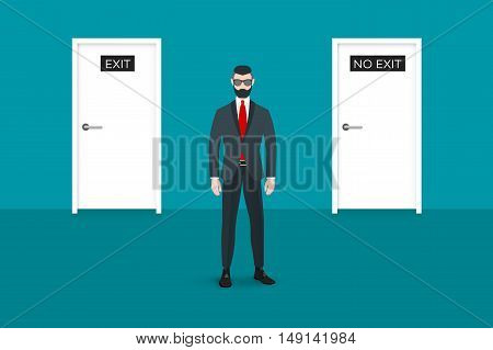 Trendy nerd hipster pedestrian facing the viewer. There is two doors on background. This businessman symbolizes the choice between some options. Abstract flat vector business conceptual illustration.