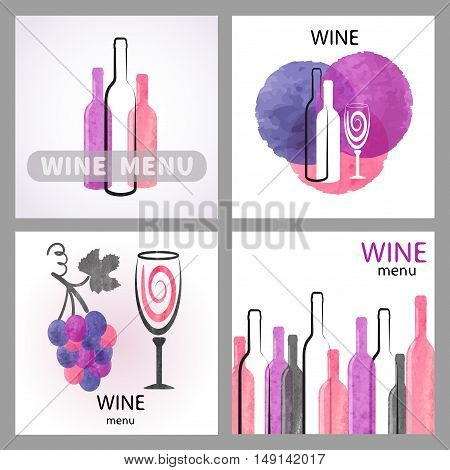 Set of watercolor wine backgrounds. Vector collection of wine menu design.