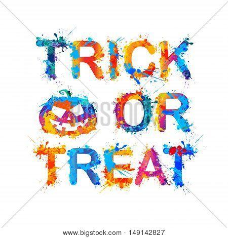 trick or treat. Halloween Inscription of splash paint