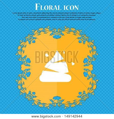 Poo Icon Sign. Floral Flat Design On A Blue Abstract Background With Place For Your Text. Vector