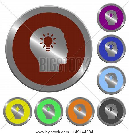 Set of color glossy coin-like idea buttons
