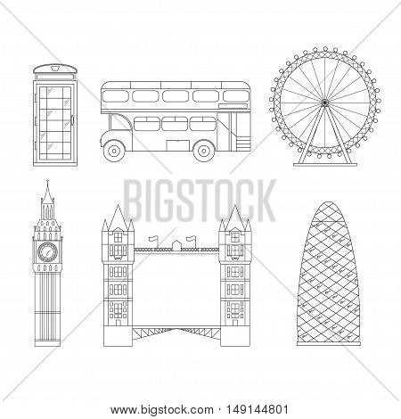 London City Thin Line Pixel Perfect Art. Material Design. Vector illustration