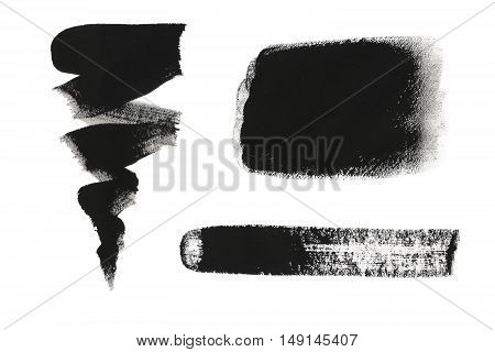 Collection Of Black Gouache Design Elements Isolated On White Background