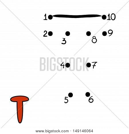 Numbers game for children, education dot to dot game, Letter  T
