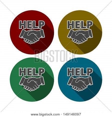 Help hand icon.Help hand icon Vector with long shadow