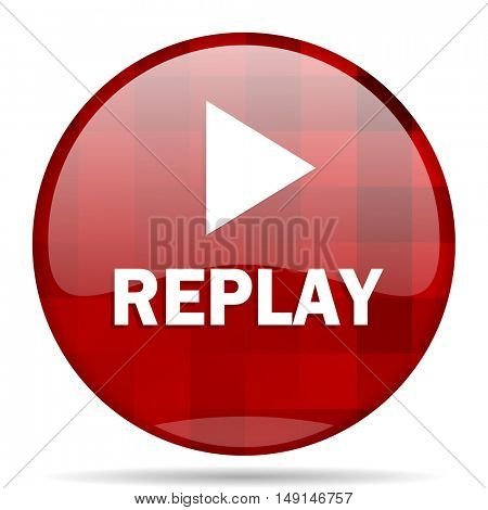 replay red round glossy modern design web icon