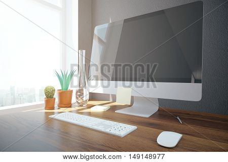 Side view of creative designer desktop with blank computer screen keyboard mouse decorative plants and window with city view and daylight. Mock up 3D Rendering