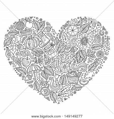 Sketchy vector hand drawn doodle cartoon set of Autumn objects, symbols and items. Heart composition