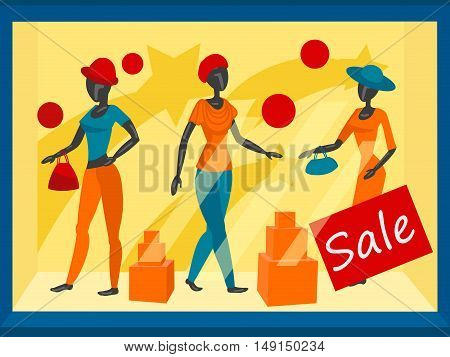 Storefront with mannequins. Colorful cartoon vector illustration