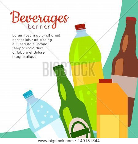 Beverages banner. Set of drinks in bottles and packs. Healthy and junk drinks. Alcoholic and nonalcoholic beverages. Part of series of promotion healthy diet and good fit. Vector illustration
