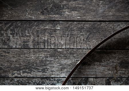 storage, winery, container and object concept - close up of old wooden barrel with hoop or vintage board
